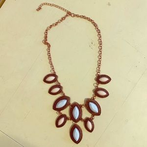 Rose gold pink and blue statement necklace